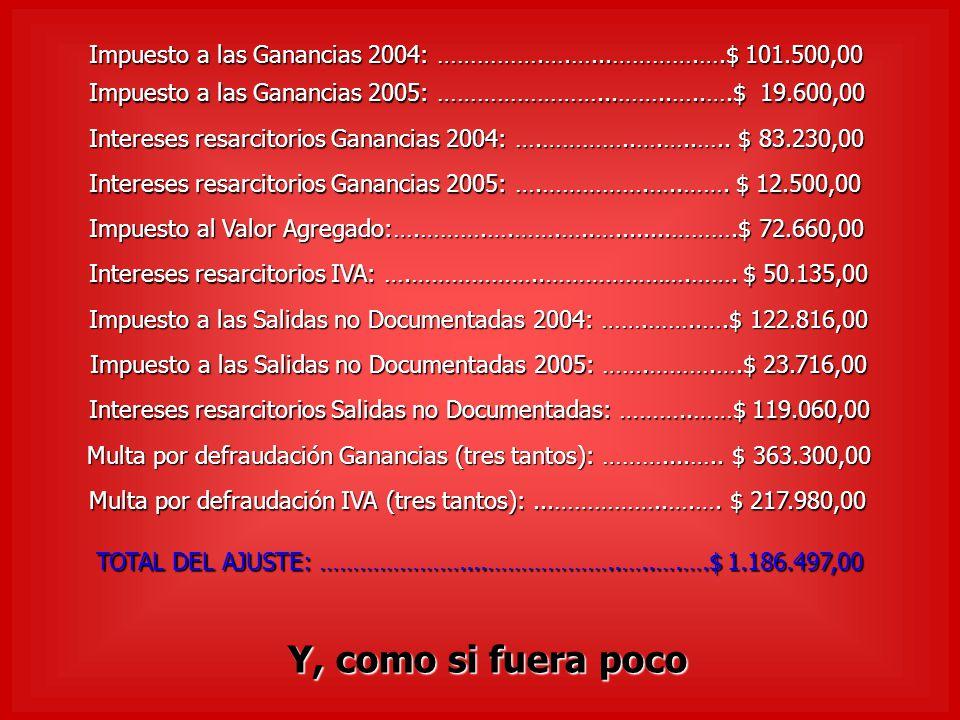 Impuesto a las Ganancias 2004: …………….….…...………….….$ 101.500,00