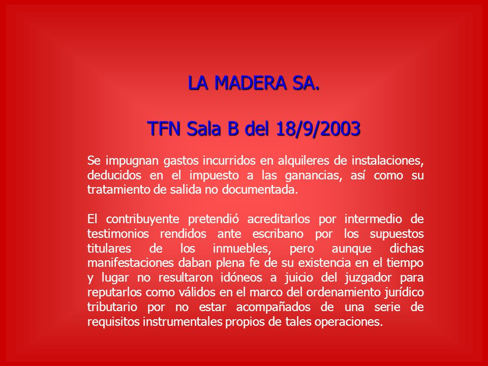 LA MADERA SA. TFN Sala B del 18/9/2003