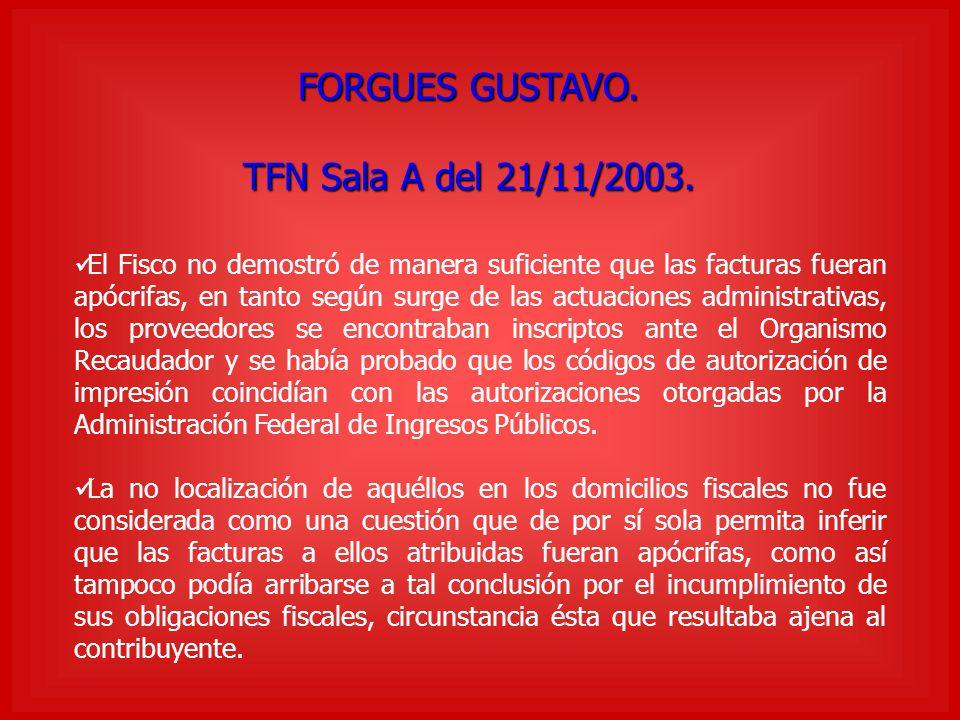 FORGUES GUSTAVO. TFN Sala A del 21/11/2003.