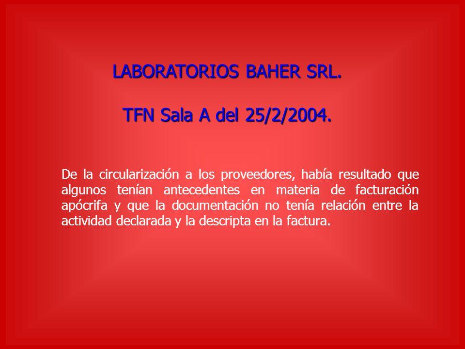 LABORATORIOS BAHER SRL.