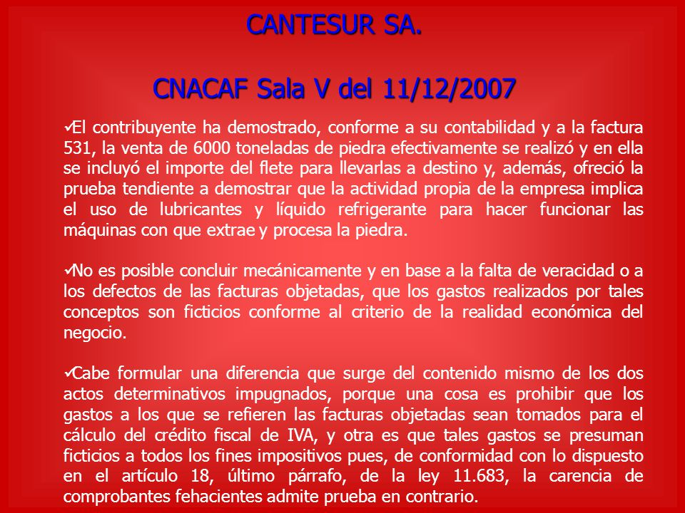 CANTESUR SA. CNACAF Sala V del 11/12/2007