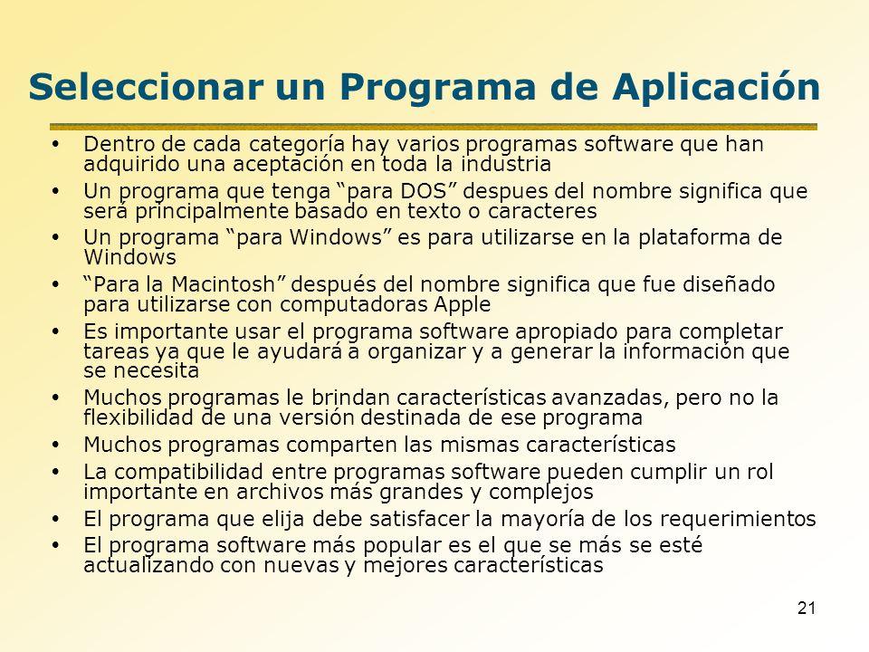 Seleccionar un Programa de Aplicación