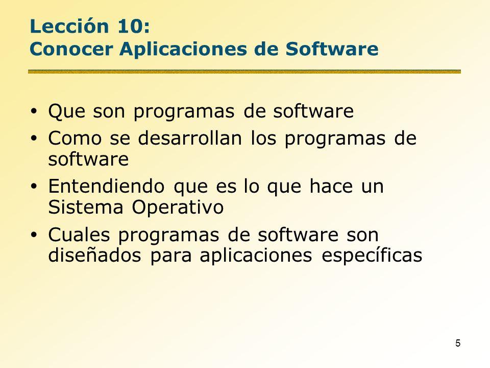 Lección 10: Conocer Aplicaciones de Software