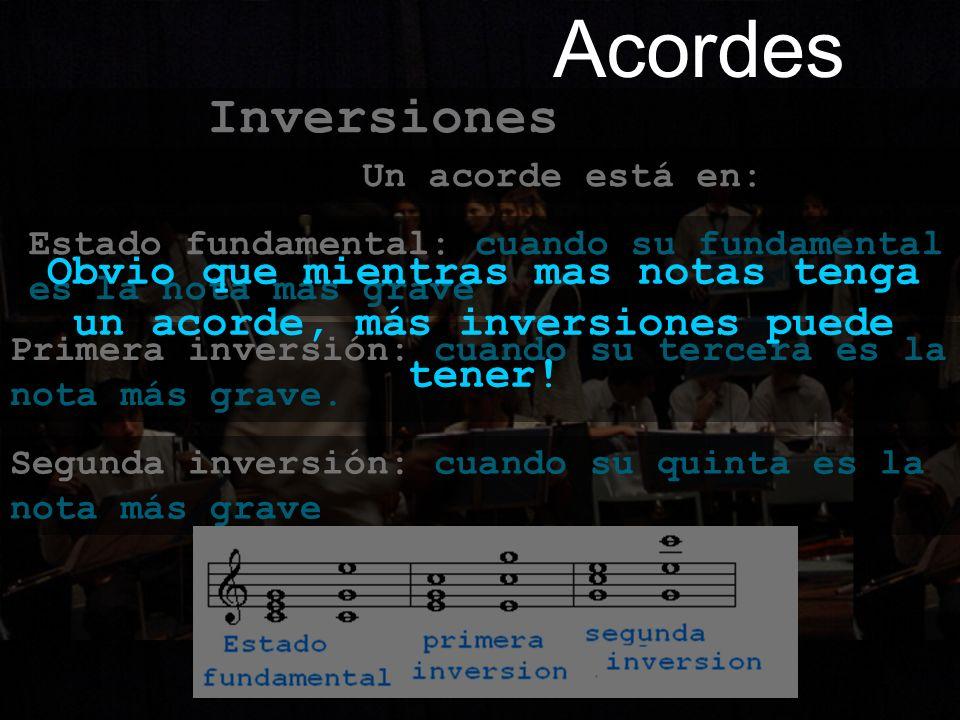 Acordes Inversiones. Obvio que mientras mas notas tenga un acorde, más inversiones puede tener! Un acorde está en: