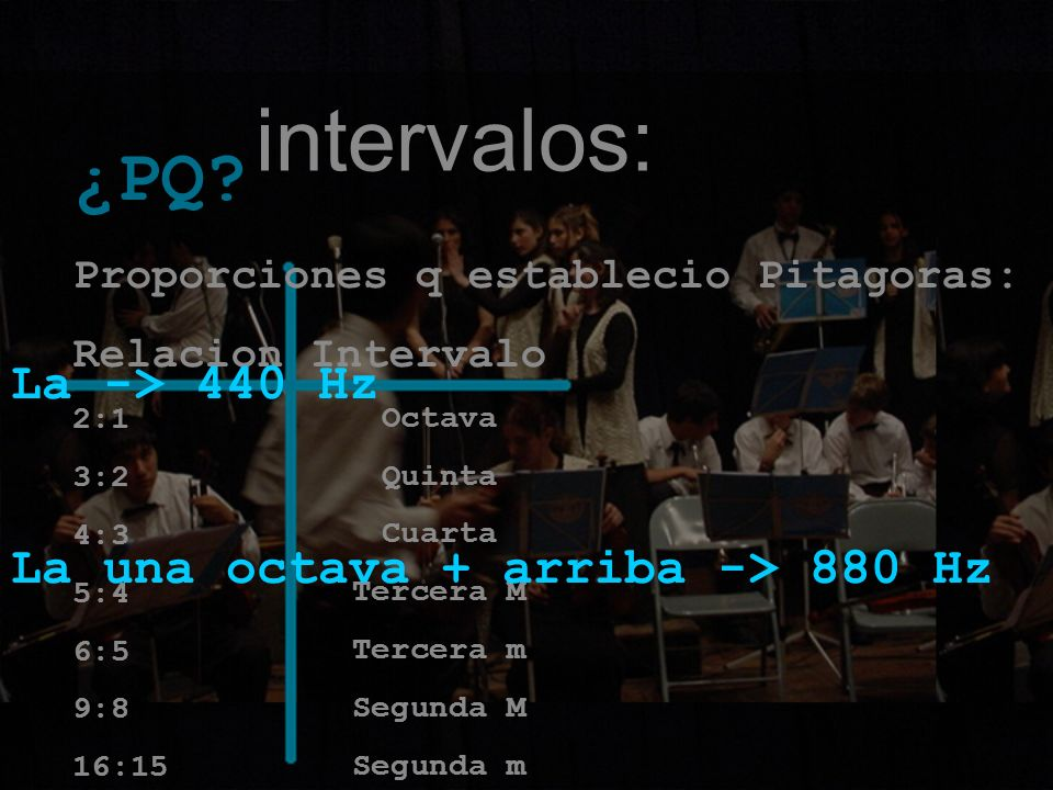 intervalos: ¿PQ La -> 440 Hz La una octava + arriba -> 880 Hz