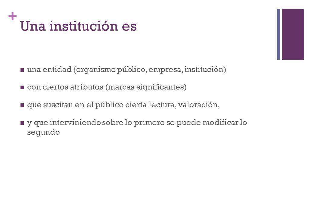 Una institución es una entidad (organismo público, empresa, institución) con ciertos atributos (marcas significantes)