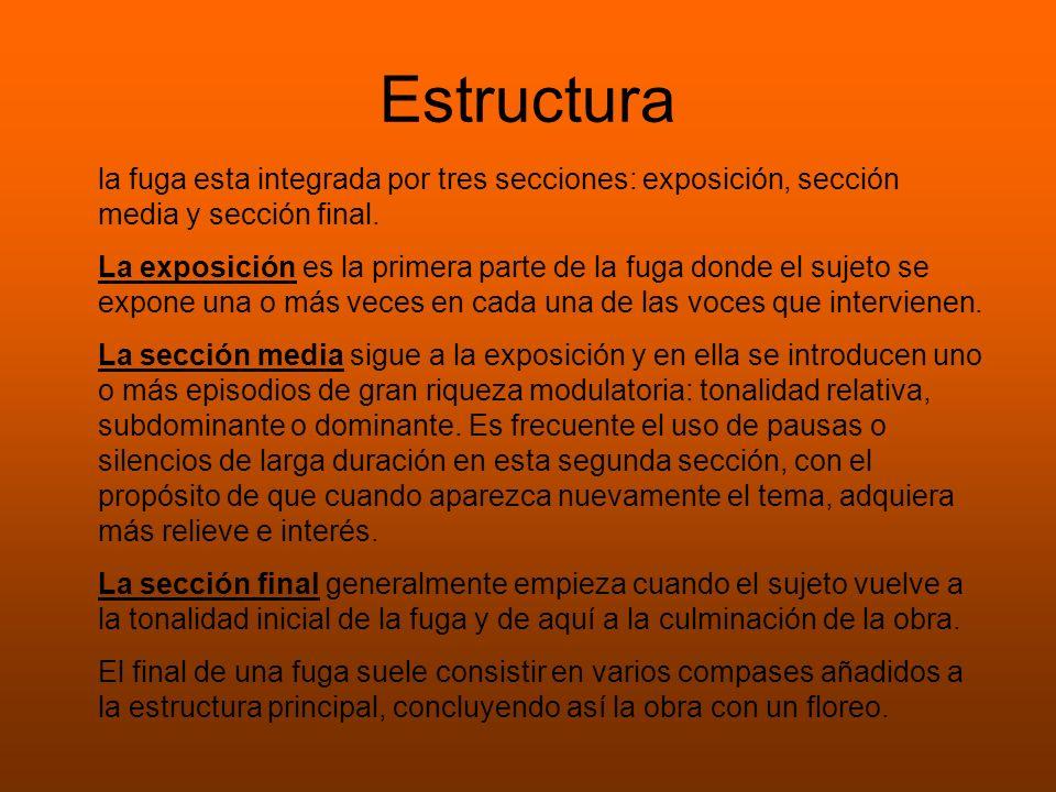 Estructura la fuga esta integrada por tres secciones: exposición, sección media y sección final.