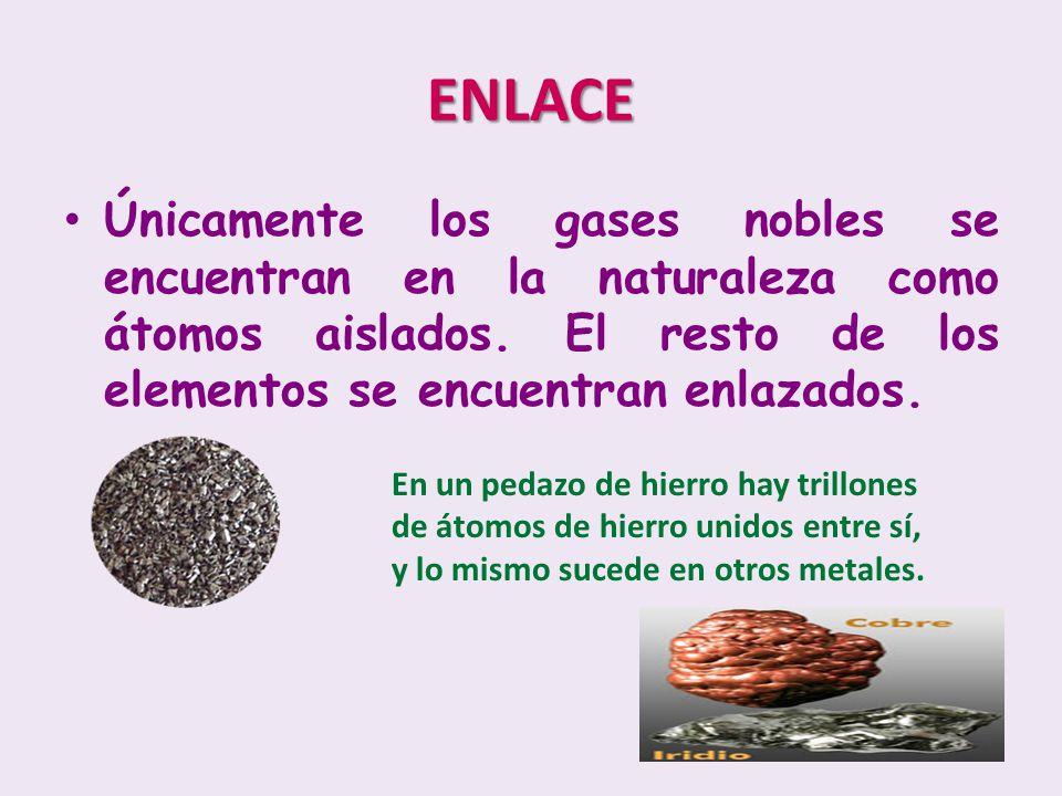 ENLACE Únicamente los gases nobles se encuentran en la naturaleza como átomos aislados. El resto de los elementos se encuentran enlazados.