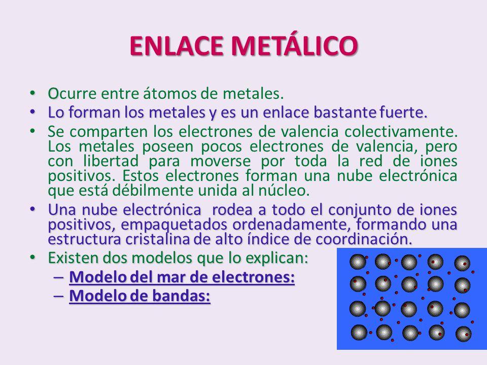 ENLACE METÁLICO Ocurre entre átomos de metales.