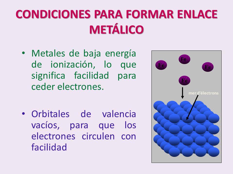 CONDICIONES PARA FORMAR ENLACE METÁLICO