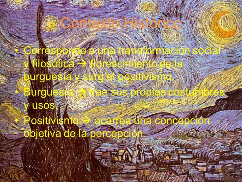 Contexto Histórico Corresponde a una transformación social y filosófica  florescimiento de la burguesía y surg el positivismo.