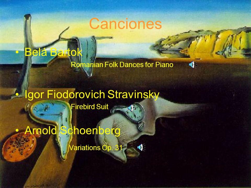 Canciones Belá Bartok Igor Fiodorovich Stravinsky Arnold Schoenberg