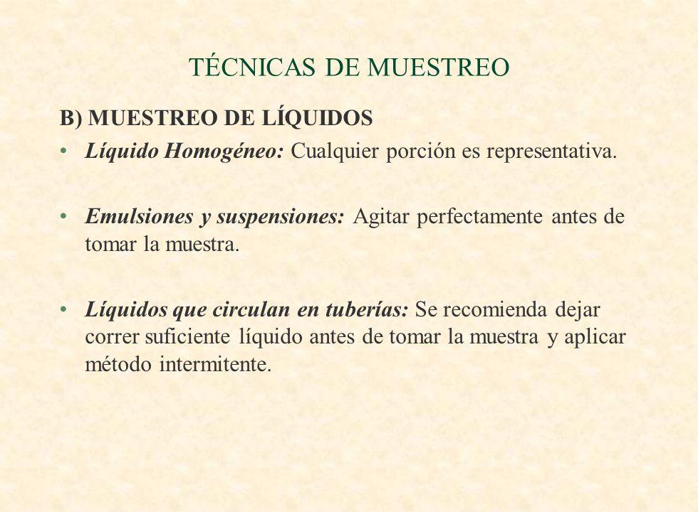TÉCNICAS DE MUESTREO B) MUESTREO DE LÍQUIDOS