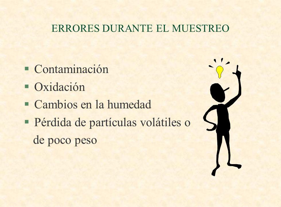 ERRORES DURANTE EL MUESTREO