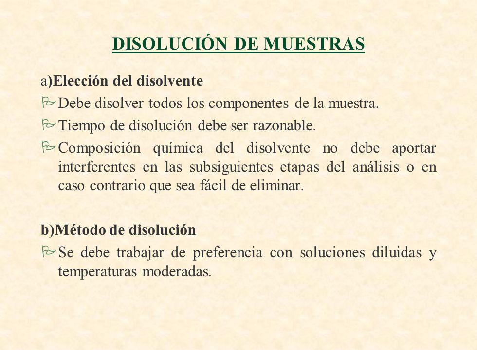 DISOLUCIÓN DE MUESTRAS