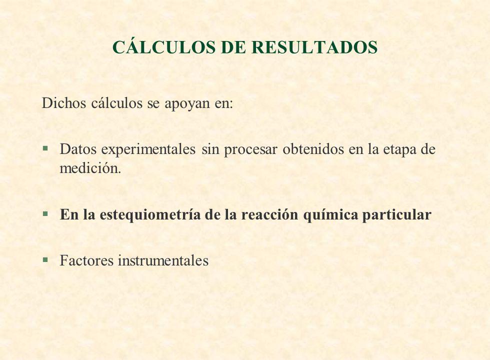 CÁLCULOS DE RESULTADOS