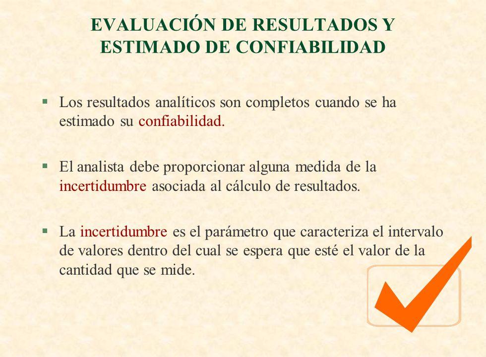 EVALUACIÓN DE RESULTADOS Y ESTIMADO DE CONFIABILIDAD