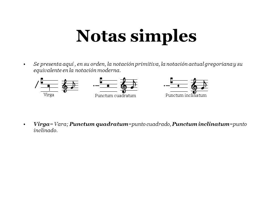 Notas simples Se presenta aquí , en su orden, la notación primitiva, la notación actual gregoriana y su equivalente en la notación moderna.