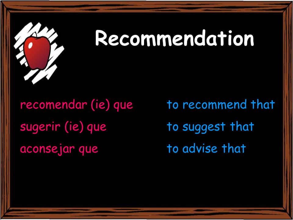 Recommendation recomendar (ie) que to recommend that
