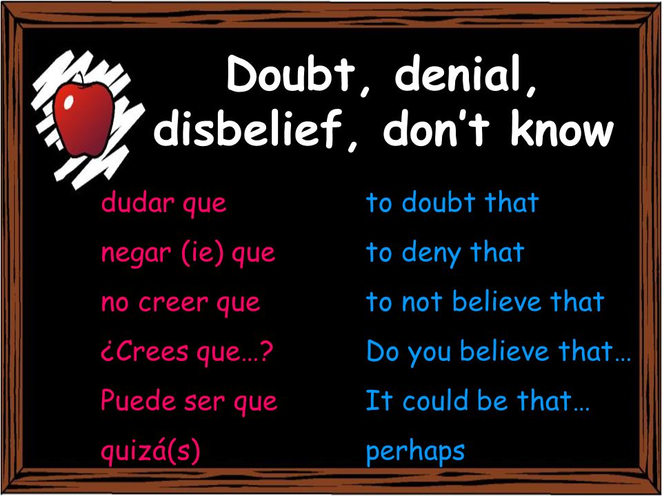 Doubt, denial, disbelief, don't know