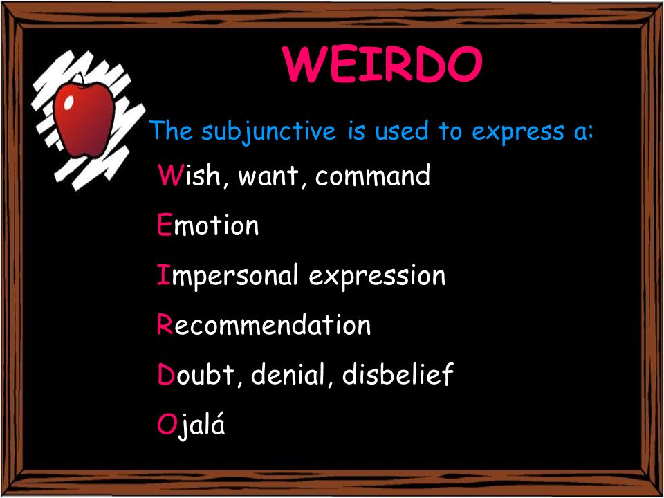 The subjunctive is used to express a: