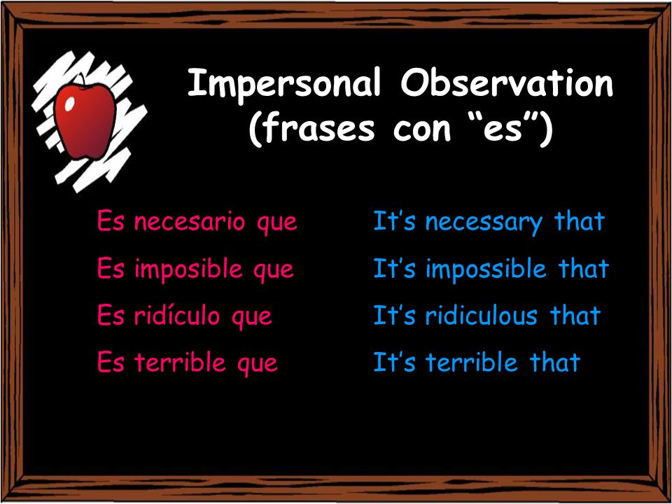 Impersonal Observation (frases con es )
