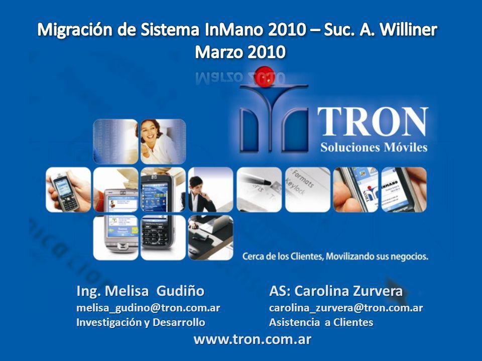 Migración de Sistema InMano 2010 – Suc. A. Williner Marzo 2010