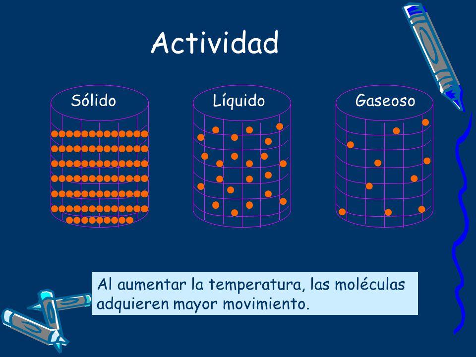 Actividad Sólido Líquido Gaseoso