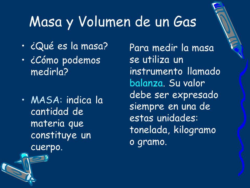 Masa y Volumen de un Gas ¿Qué es la masa