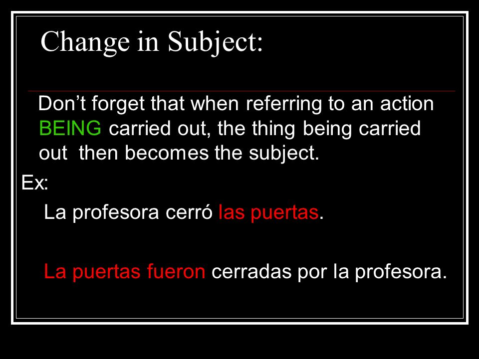 Change in Subject: