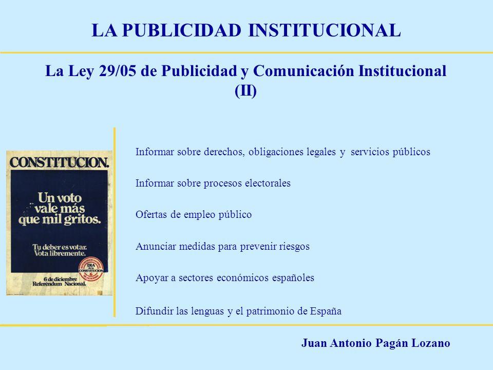 La Ley 29/05 de Publicidad y Comunicación Institucional (II)