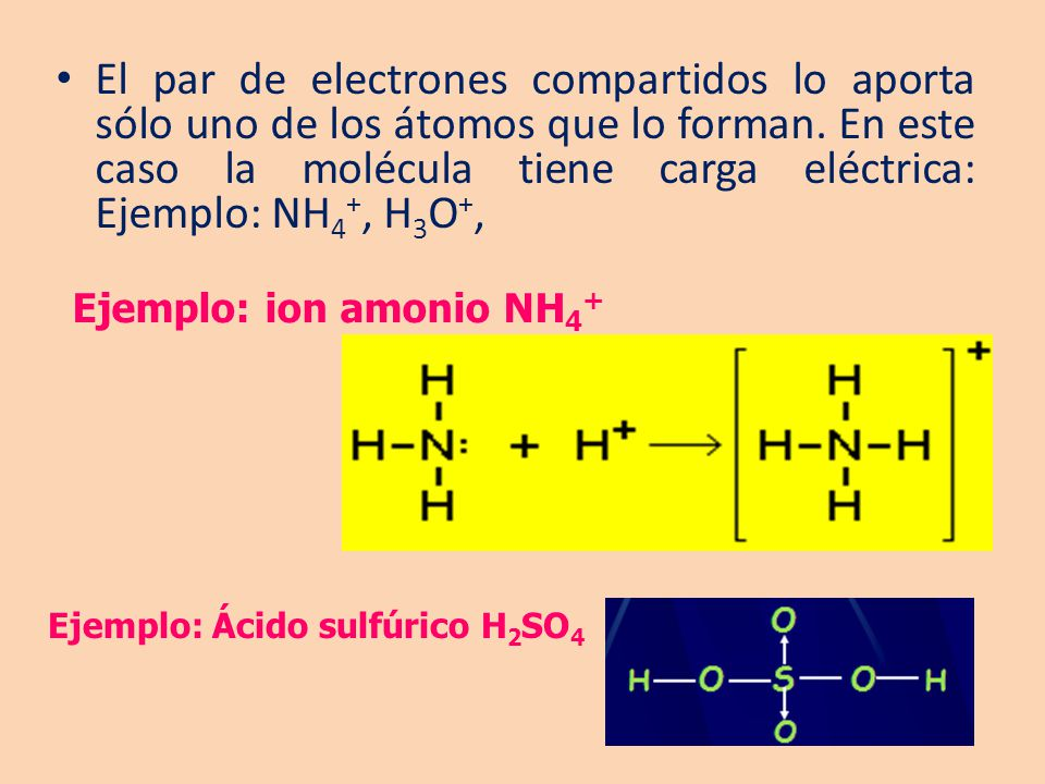 El par de electrones compartidos lo aporta sólo uno de los átomos que lo forman. En este caso la molécula tiene carga eléctrica: Ejemplo: NH4+, H3O+,
