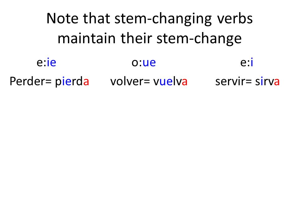 Note that stem-changing verbs maintain their stem-change