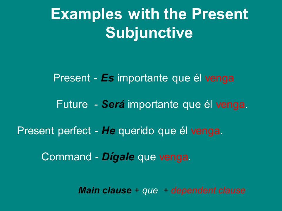Examples with the Present Subjunctive