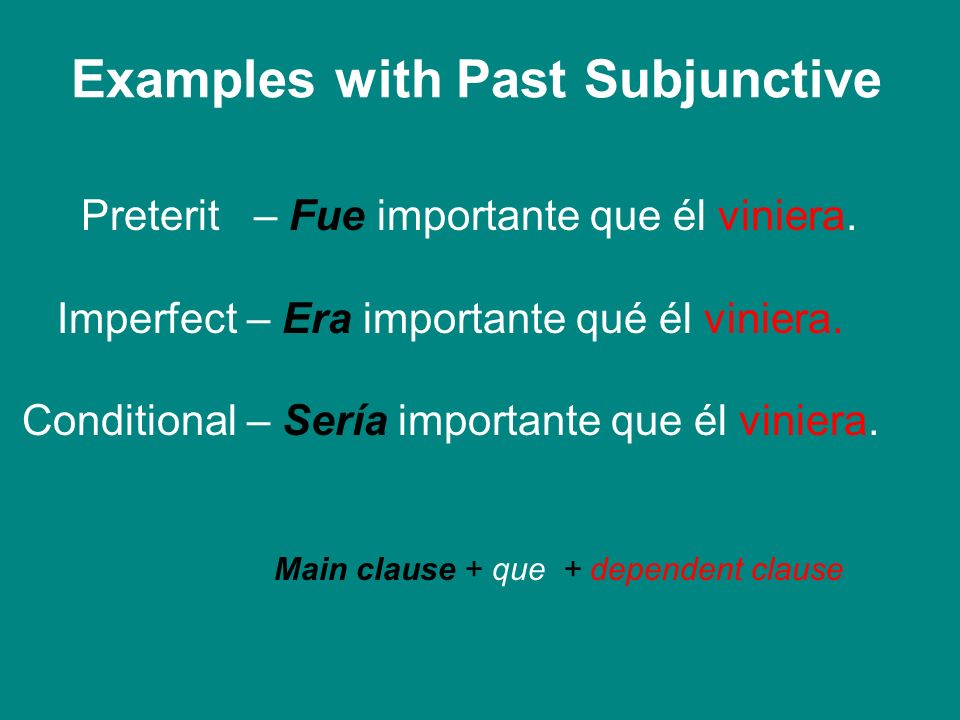 Examples with Past Subjunctive