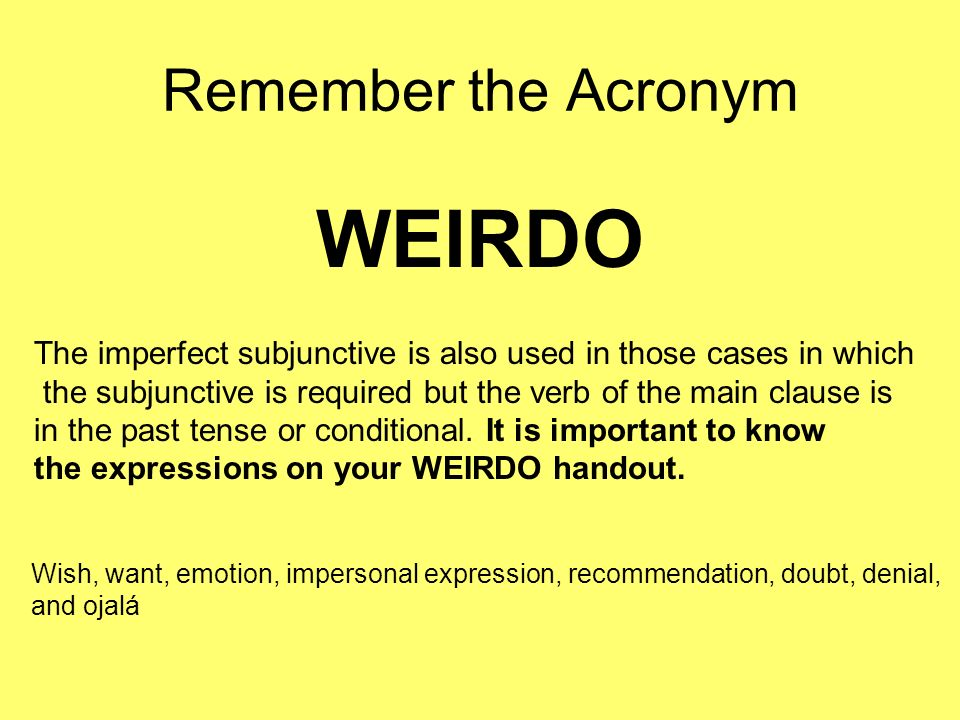 WEIRDO Remember the Acronym