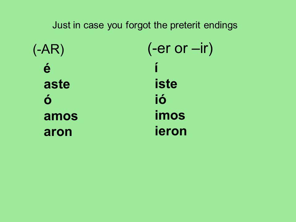 (-er or –ir) (-AR) é aste ó amos aron í iste ió imos ieron