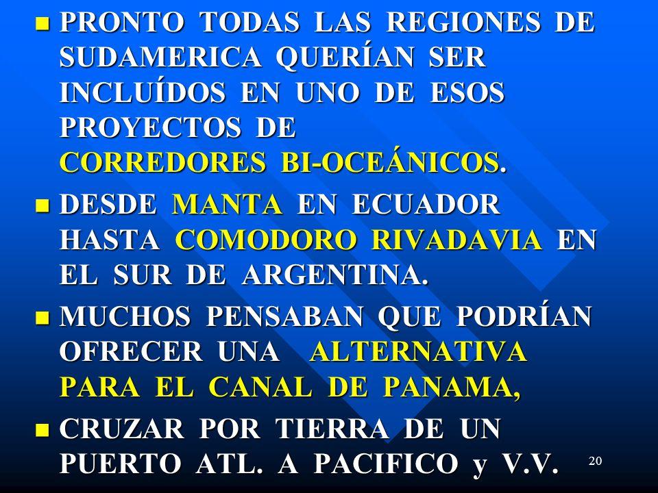 PRONTO TODAS LAS REGIONES DE SUDAMERICA QUERÍAN SER INCLUÍDOS EN UNO DE ESOS PROYECTOS DE CORREDORES BI-OCEÁNICOS.