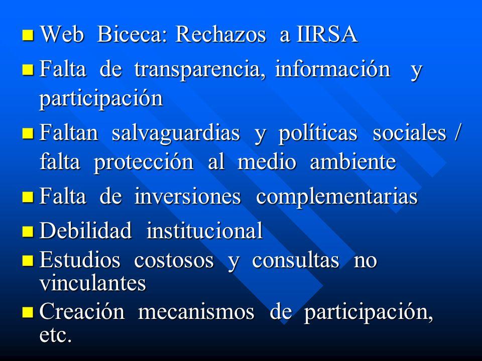 Web Biceca: Rechazos a IIRSA