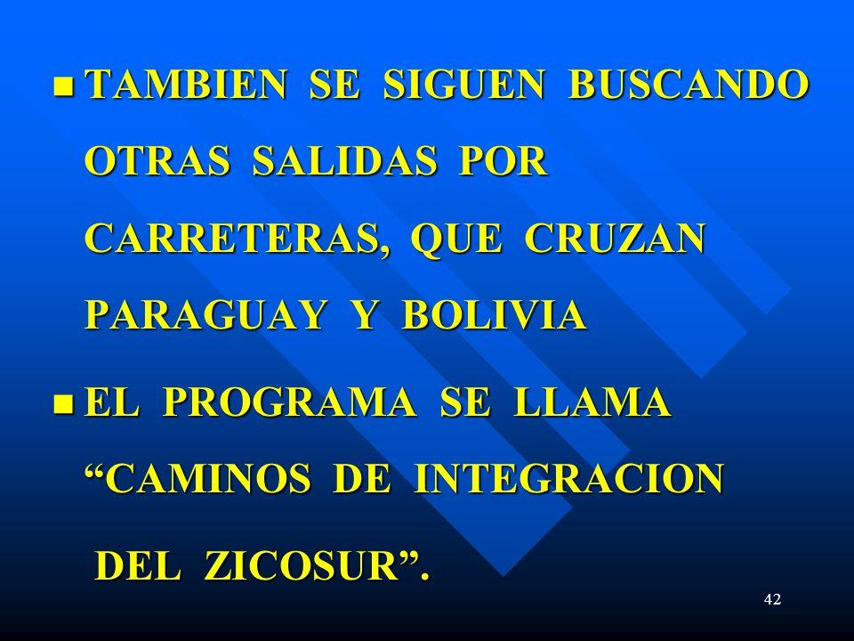 TAMBIEN SE SIGUEN BUSCANDO OTRAS SALIDAS POR CARRETERAS, QUE CRUZAN PARAGUAY Y BOLIVIA