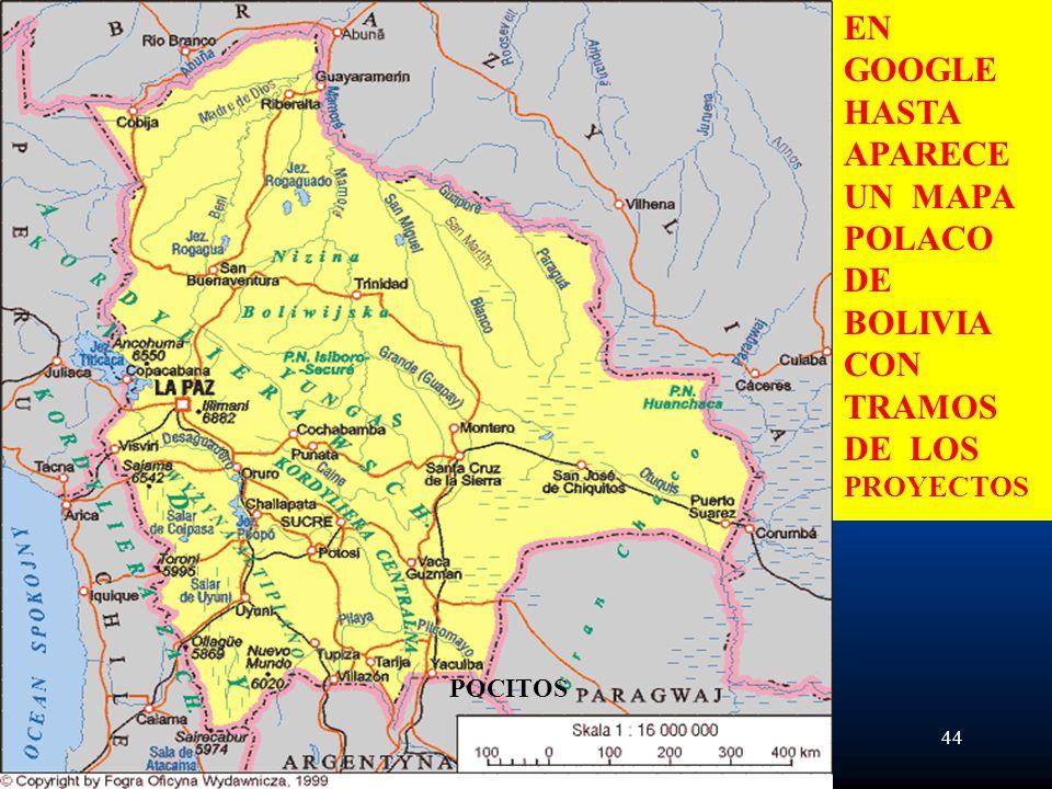 UN MAPA POLACO DE BOLIVIA CON TRAMOS DE LOS PROYECTOS