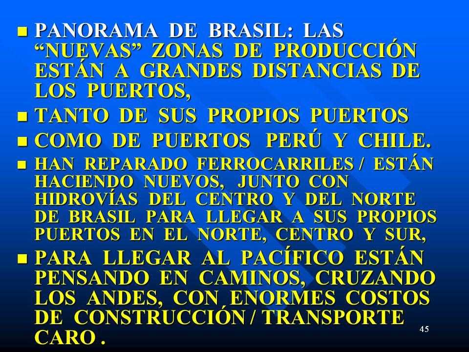 TANTO DE SUS PROPIOS PUERTOS COMO DE PUERTOS PERÚ Y CHILE.
