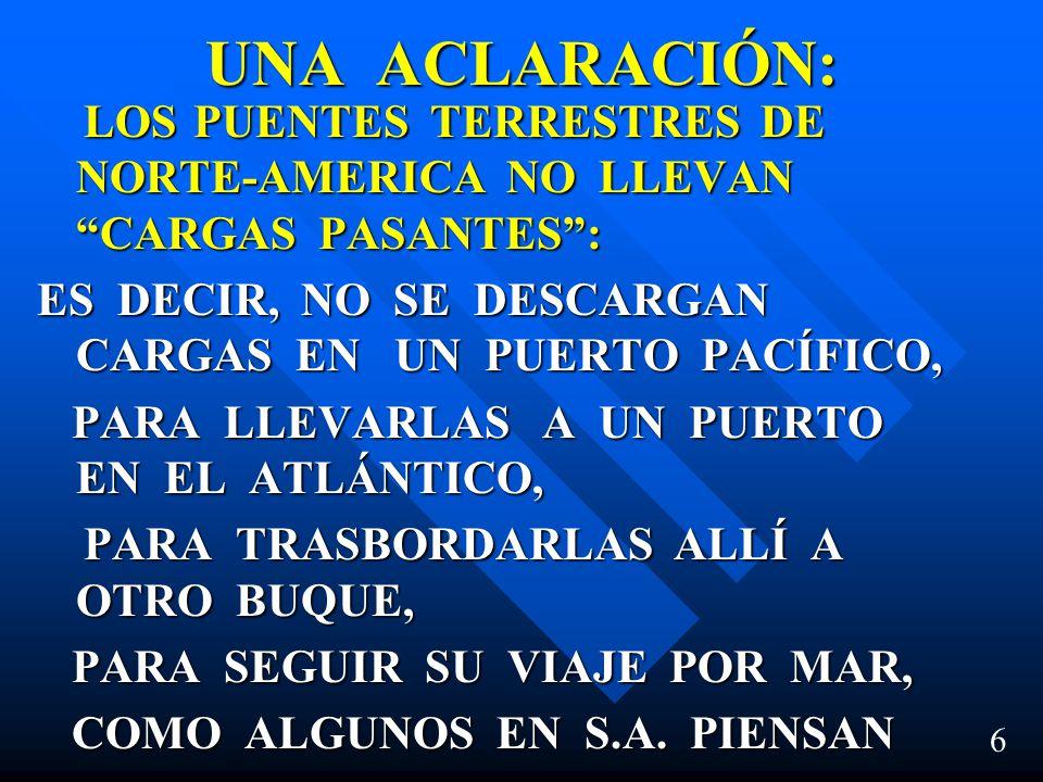 UNA ACLARACIÓN: LOS PUENTES TERRESTRES DE NORTE-AMERICA NO LLEVAN CARGAS PASANTES :