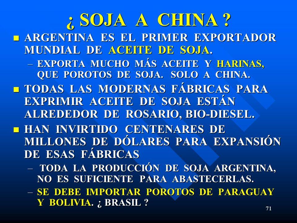 ¿ SOJA A CHINA ARGENTINA ES EL PRIMER EXPORTADOR MUNDIAL DE ACEITE DE SOJA.