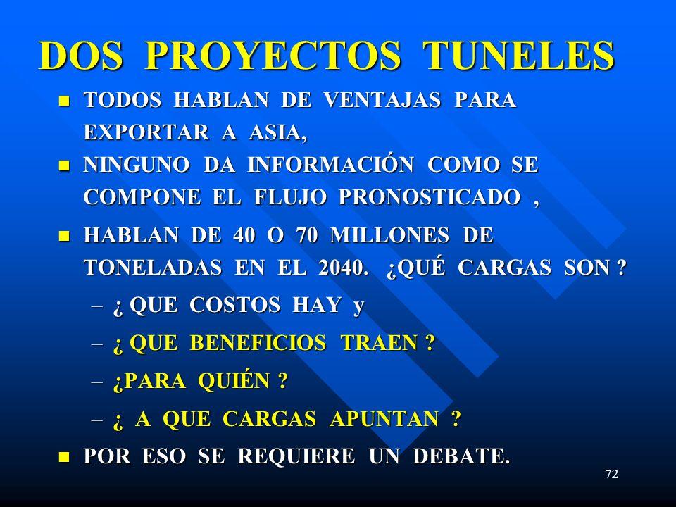 DOS PROYECTOS TUNELES TODOS HABLAN DE VENTAJAS PARA EXPORTAR A ASIA,