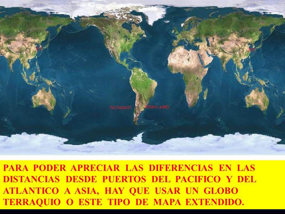 PARA PODER APRECIAR LAS DIFERENCIAS EN LAS DISTANCIAS DESDE PUERTOS DEL PACIFICO Y DEL ATLANTICO A ASIA, HAY QUE USAR UN GLOBO TERRAQUIO O ESTE TIPO DE MAPA EXTENDIDO.