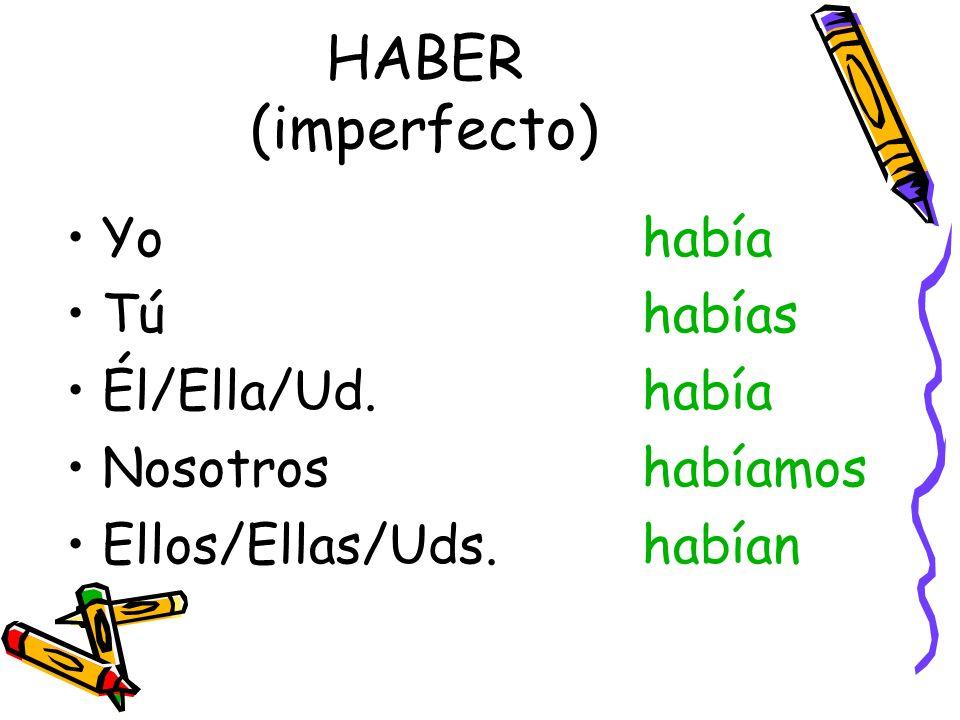 HABER (imperfecto) Yo había Tú habías Él/Ella/Ud. había