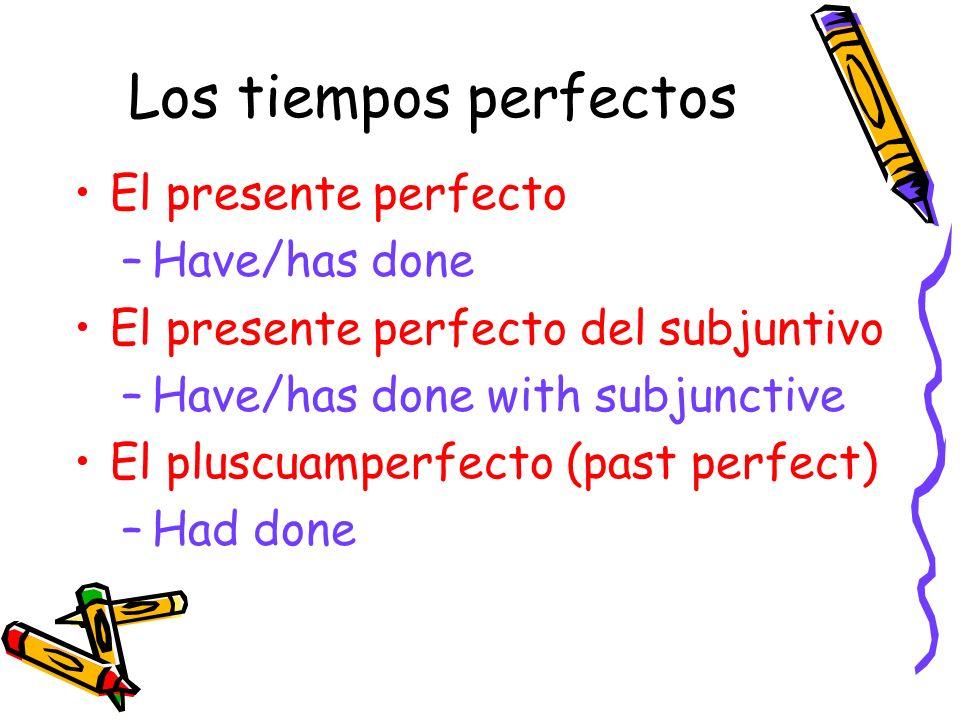 Los tiempos perfectos El presente perfecto Have/has done