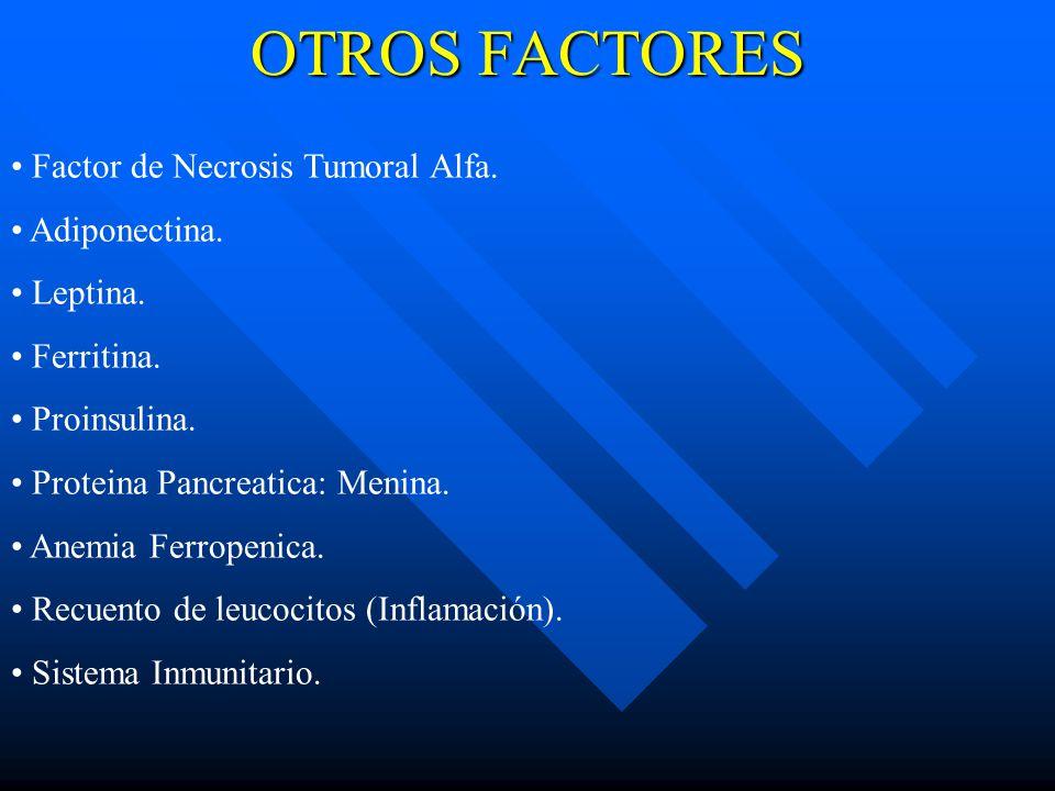 OTROS FACTORES Factor de Necrosis Tumoral Alfa. Adiponectina. Leptina.