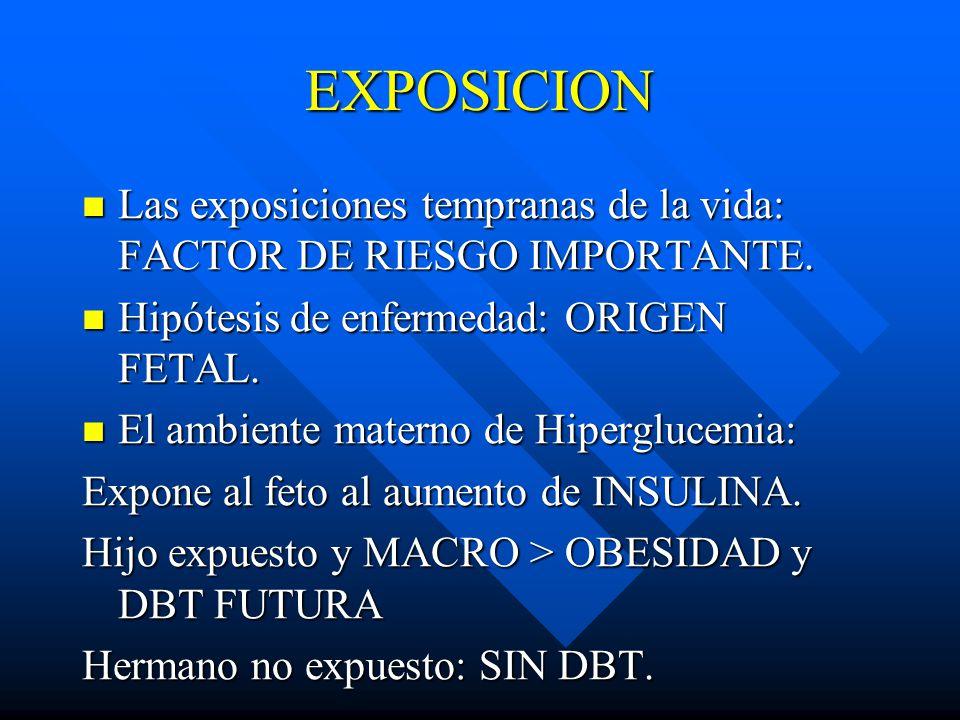 EXPOSICION Las exposiciones tempranas de la vida: FACTOR DE RIESGO IMPORTANTE. Hipótesis de enfermedad: ORIGEN FETAL.